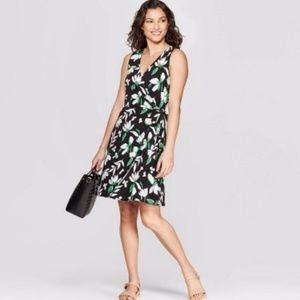 A New Day Wrap Dress Stretch Knit Floral Plus Tie